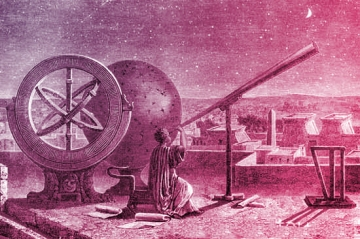 Hipparchus (c.190-c.120 BC), Ancient Greek astronomer, at the Alexandria Observatory, Egypt. At left is the armillary sphere he invented. Hipparchus is considered one of the greatest astronomers of antiquity. He calculated the length of the year and discovered the precession of the equinoxes. It is thought that the later work of Ptolemy was based on the work done by Hipparchus. Engraving from Vies des Savants Illustres (1877).