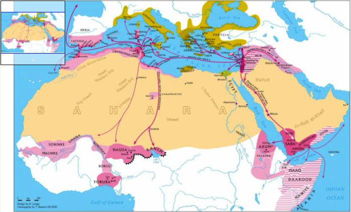 Ancient Map of Israelite Migrations and Colonies