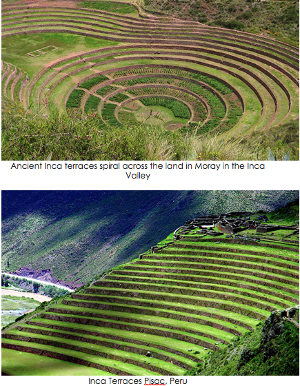 terraced step pyramid fields like in americas