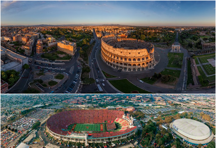 roman and los ángeles coliseum