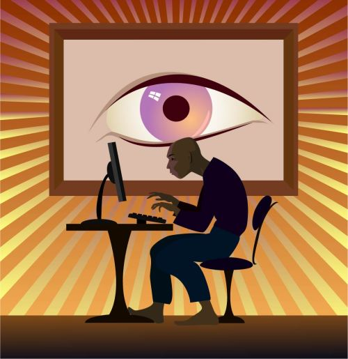 Illustration - Man with big brother eye watching him use computer