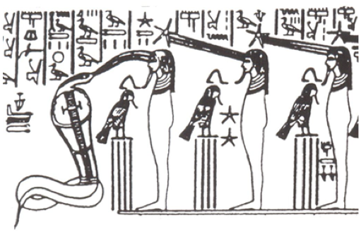 Egyptian serpent and star power directed to 3rd eye