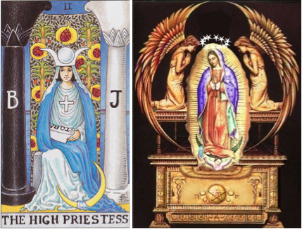 high priestess tarot mother mary moon goddess on throne of mind eye of moon plan