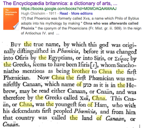China is Chna Canaan Phoenicians