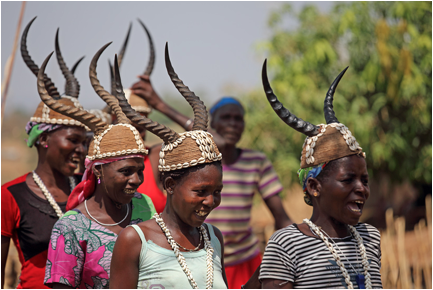 Tamberma (Batammariba) women wearing their traditional antelope headdress, Togo