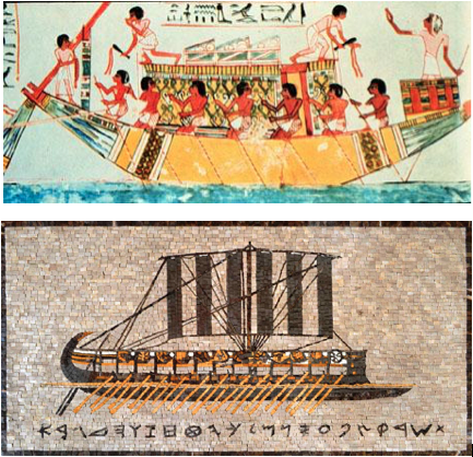 egyptian ship and phoenician galley