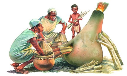 SMELTING IRON IN Africa - ILLUSTRATION