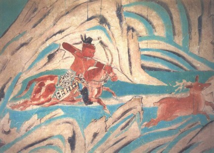 ancient chinese archery shining cave mural dunhuang