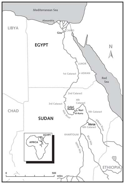 Map of Nile from egypt to kush kingdom sudan