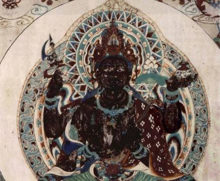 black buddha wall mural mogul cave