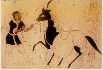 dunhuang_grotte_288 Homme tenant un cheval par la bride, détail d'une fresque de la grotte 288 (VIe-VIIe s)