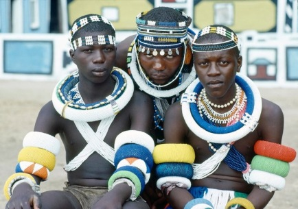 Young men from the Ndebele tribe in South Africa pose on their initiation day. 1/Jan/1985. UN Photo/P. www.unmultimedia.org/photo/