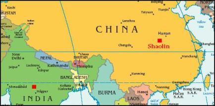 India to China map Bodidharma shaolin