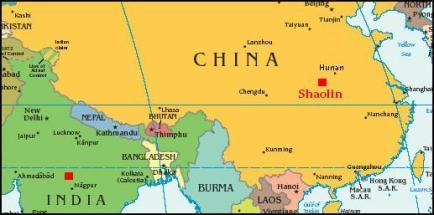 India to China map Bodidharma shaolin