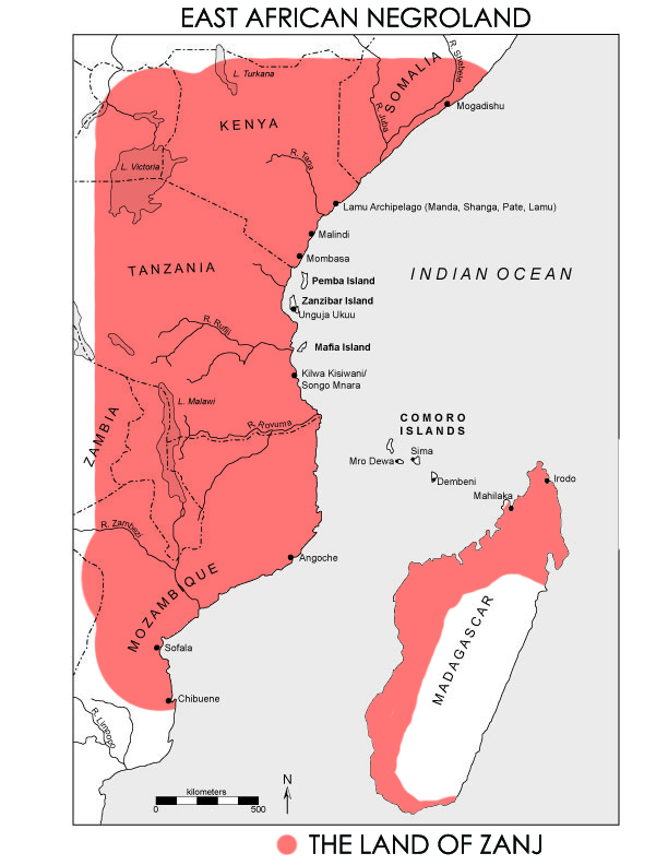East African coast zanj land
