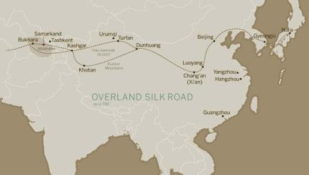 Overland Silk Route map