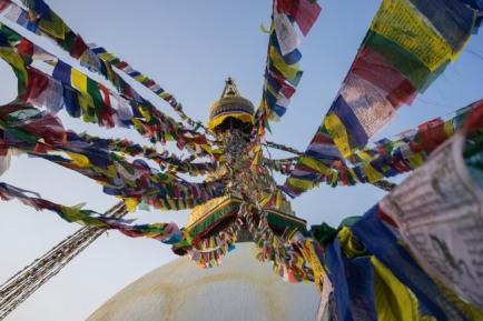 buddhist hindu stupa prayer flags colors ezekiel 16 16