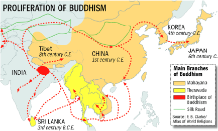 Proliferation of Buddhism map