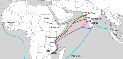Trade routes from Africa to India and Southeast Asia