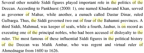 An African Indian Community in Hyderabad: Siddi Identity, Its Maintenance and Change, By Ababu Minda Yimene, PG 82