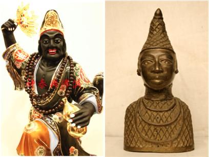 LFT: Buddha ji gong 濟公活佛, RT: Benin Bronze figure with conical hat