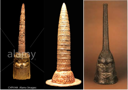 Berlin Gold hat compared to west african bronze figures