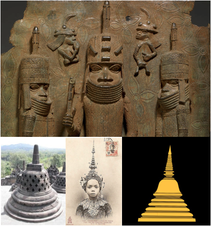 conical/bell shaped nigeria helmet and buddhist stupa