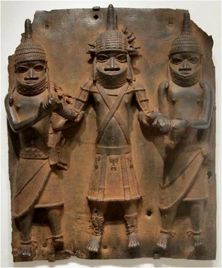 Benin bronze figures conical hats