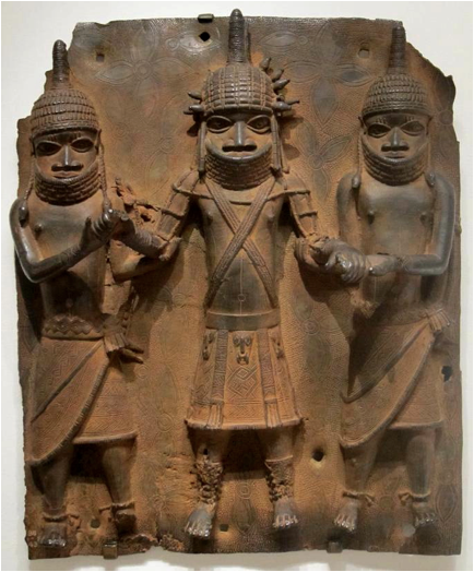 Benin bronze figures conical hats