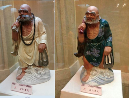 Black buddhist monks in Chinese museum