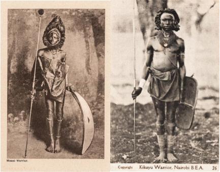 LFT Masai warrior RT Kikuyu warrior