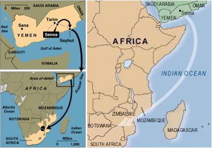 Yemen to Zimbabe Mozambique