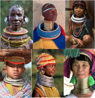 neck ring people from africa to india to southeast asia