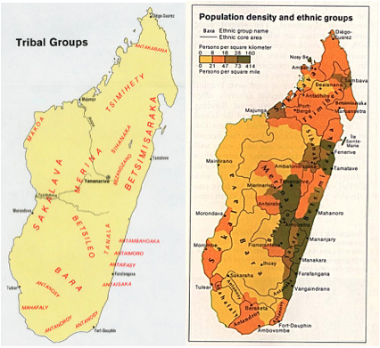 madagascar island ethnic tribal groups map