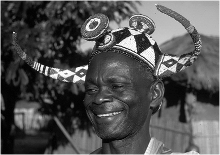 Pende Chief Kwilu with Beaded Crown, Democratic Republic of the Congo, Africa