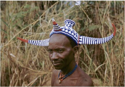 horned headdress african chief