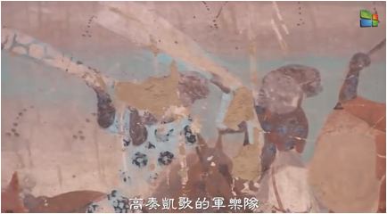 Dunhuang Cave mural of Negro Horn blowers in China