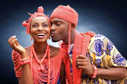 yoruba traditional wedding bride groom red coral
