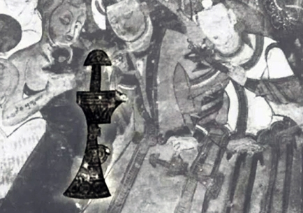 parthian sword on mogao cave painting