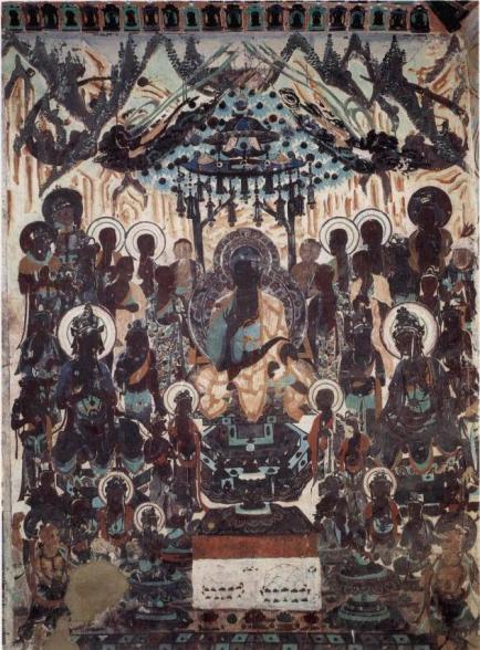 black buddha dunhuang cave