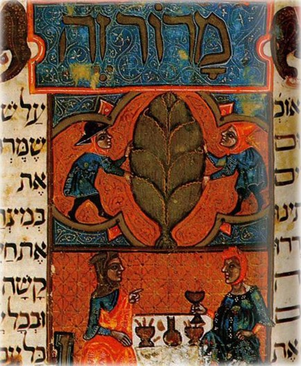 Hagadá Rylands, 1330 Maror zé - In the Brother to the Rylands Haggadah, marror is depicted as an artichoke