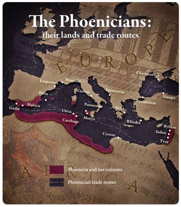 Phoenicians their lands and trade routes