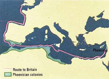 phoenicia to britain scotland ireland map
