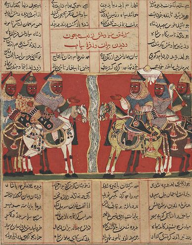 Prince Siyavush faces Afrasiyab's forces across a river A page from a Shahnama manuscript, from around 1425