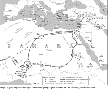 dire lange map of yoruba migration from assyria near east to west after through egypt according to oyo yoruba tradition