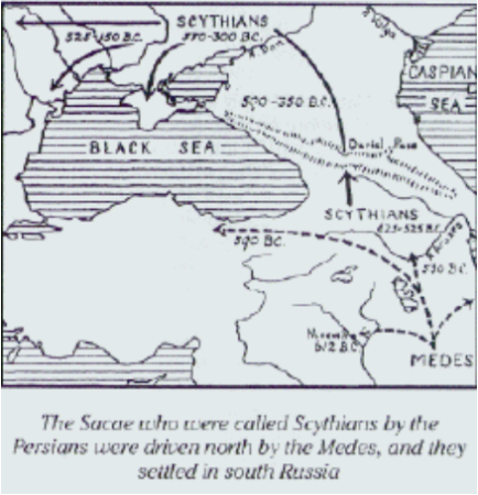 Sacae Saka Scythians were driven north into southern russia eastern europe by the medes iranians persians
