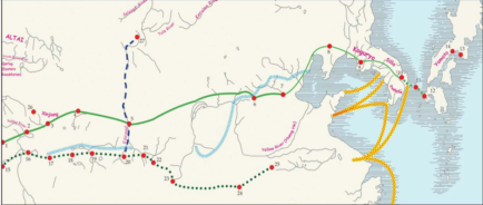 route from through china into korea and japan