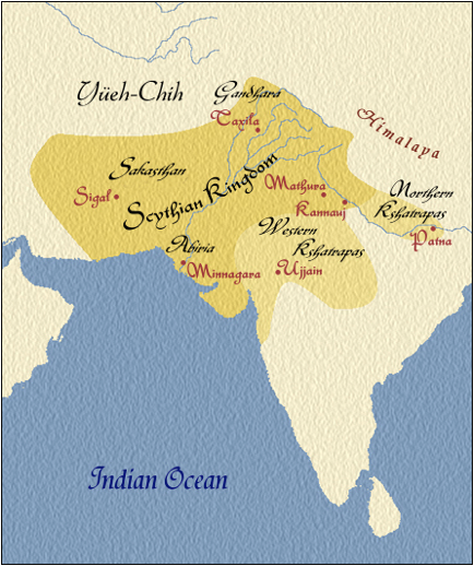 Scythian Aryan Kingdom in Northern India including Baluchistan, Afghanistan