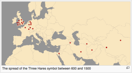 map showing the spread of the three hares symbol
