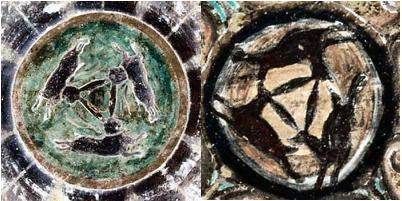 three hares triskele triskelion symbol in buddhist cave